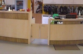 Swing door hinges on counter flaps