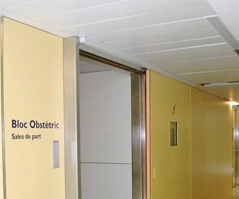 Sliding fire door operator hospital